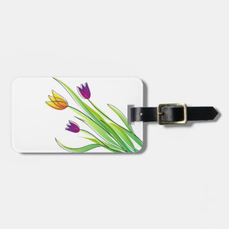 Bouquet of Bright Purple and Yellow Tulips Bag Tag