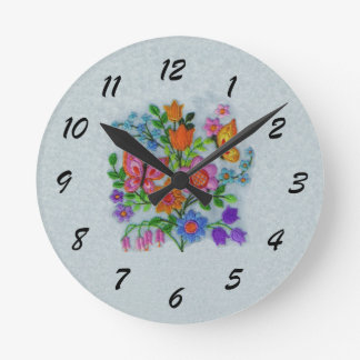 Bouquet of Colorful Spring Flowers Butterflies Round Clock