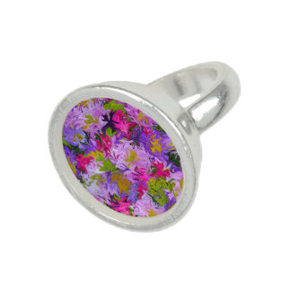 Bouquet of Colors Abstract Art Design Round Ring