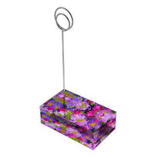 Bouquet of Colors Floral Abstract Art Design Table Number Holder