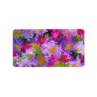 Bouquet of Colors Floral Abstract Art Stickers Address Label