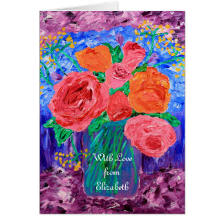 Bouquet of English Roses in Mason Jar Painting Card