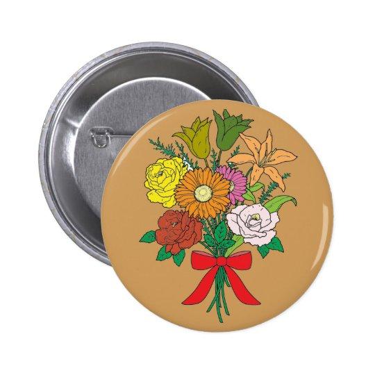 Bouquet of Flowers 6 Cm Round Badge