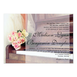 bouquet of flowers,bride and piano 13 cm x 18 cm invitation card