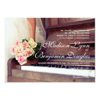 bouquet of flowers,bride and piano card