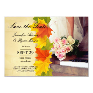 bouquet of flowers,bride and piano/fall theme card