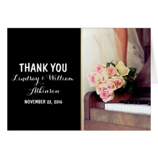 bouquet of flowers,bride and piano/Thank You Note Card