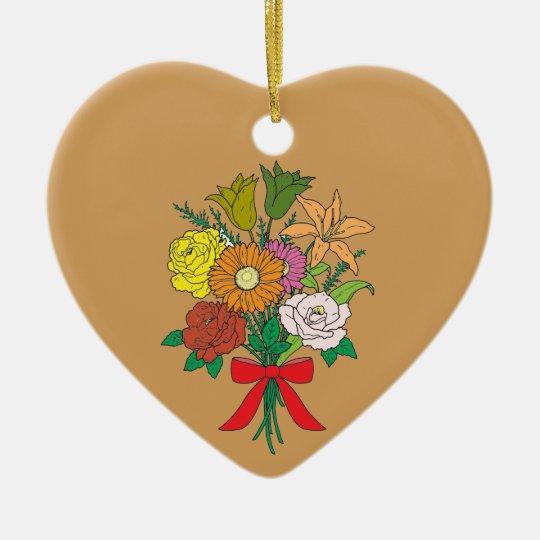 Bouquet of Flowers Ceramic Heart Decoration