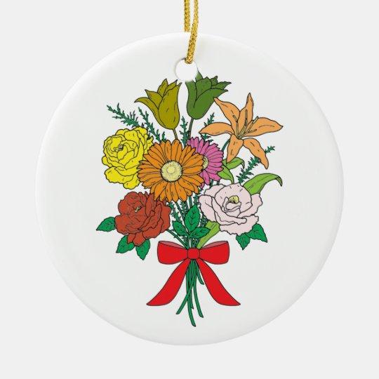 Bouquet of Flowers Ceramic Ornament
