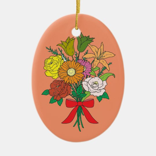 Bouquet of Flowers Ceramic Oval Decoration