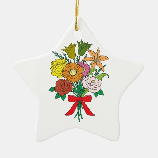 Bouquet of Flowers Ceramic Star Decoration
