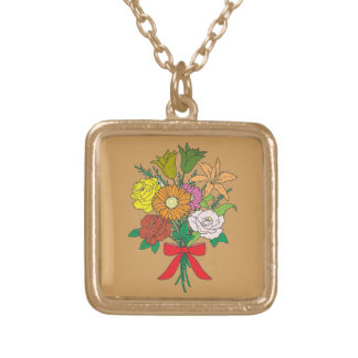 Bouquet of Flowers Gold Plated Necklace