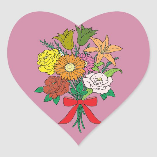 Bouquet of Flowers Heart Sticker