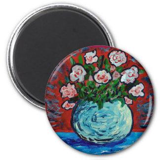 Bouquet of flowers impressionist art 6 cm round magnet