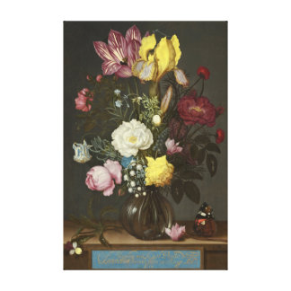 Bouquet of Flowers in a Glass Vase Canvas Print