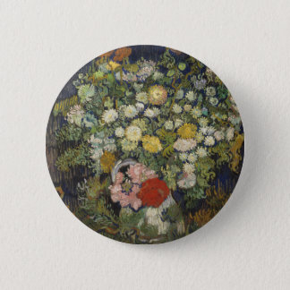 Bouquet of Flowers in a Vase 6 Cm Round Badge