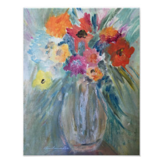 Bouquet of Flowers in Glass Vase Poster