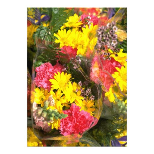 Bouquet of flowers in plastic bag personalized invites
