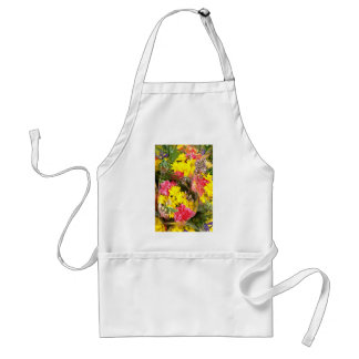 Bouquet of flowers in plastic bag Red flowers Apron