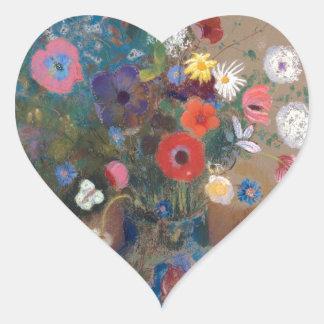 Bouquet of Flowers - Odilon Redon Heart Sticker