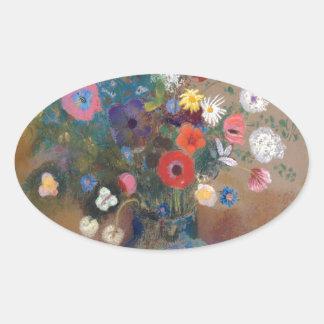 Bouquet of Flowers - Odilon Redon Oval Sticker