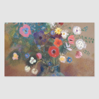 Bouquet of Flowers - Odilon Redon Rectangular Sticker