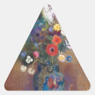Bouquet of Flowers - Odilon Redon Triangle Sticker