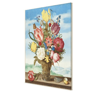 Bouquet of Flowers on a Ledge Canvas Print
