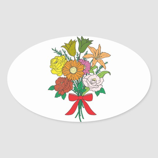 Bouquet of Flowers Oval Sticker