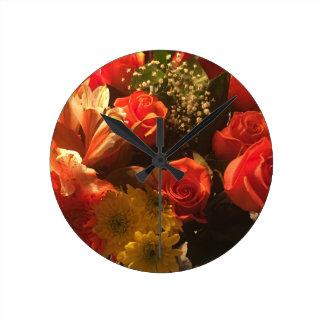 Bouquet of Flowers Round Clock