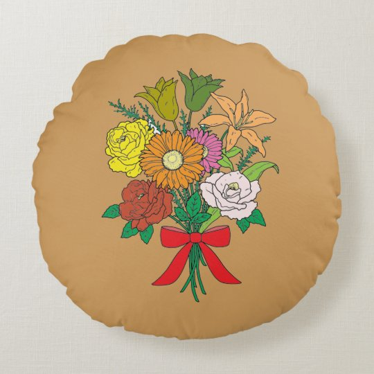 Bouquet of Flowers Round Cushion