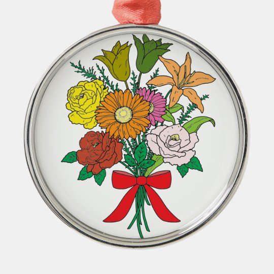 Bouquet of Flowers Silver-Colored Round Decoration