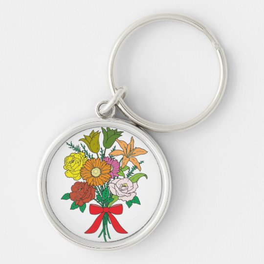 Bouquet of Flowers Silver-Colored Round Key Ring
