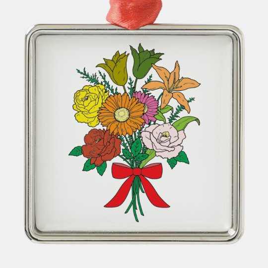 Bouquet of Flowers Silver-Colored Square Decoration