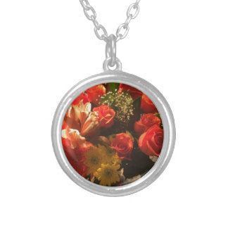 Bouquet of Flowers Silver Plated Necklace