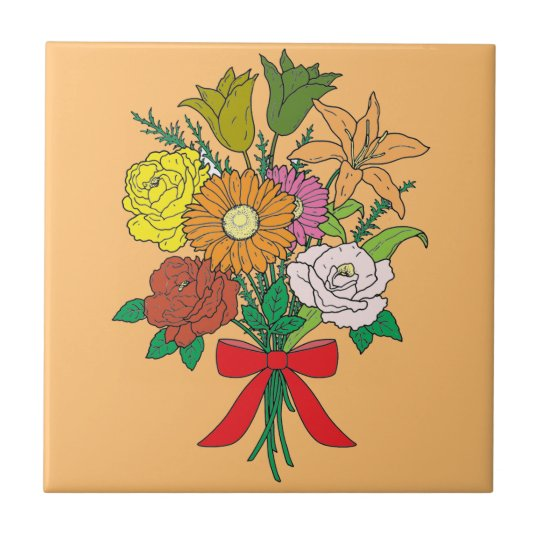 Bouquet of Flowers Small Square Tile