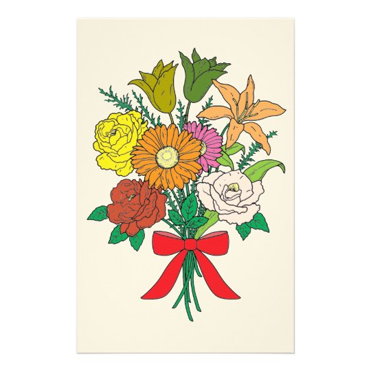 Bouquet of Flowers Stationery Design