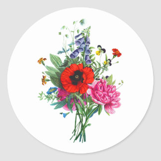 Bouquet of Foxglove, Poppy and Peonie by Prevost Classic Round Sticker