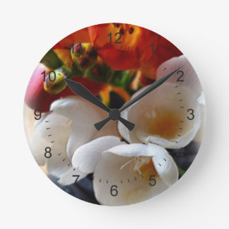 bouquet of freesias round clock