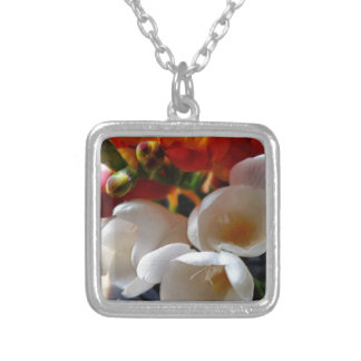 bouquet of freesias silver plated necklace
