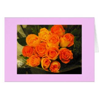 Bouquet of Orange Cream Roses Note Card