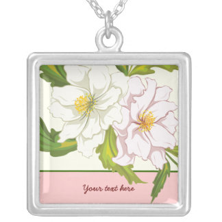 Bouquet of pink and white flowers silver pendant