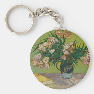 Bouquet of Pink Flowers in Vase Key Ring