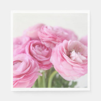 Bouquet of pink ranunculus disposable serviette