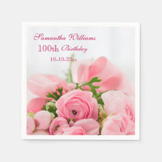 Bouquet Of Pink Roses 100th Birthday Disposable Serviettes