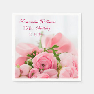 Bouquet Of Pink Roses 17th Birthday Disposable Serviette