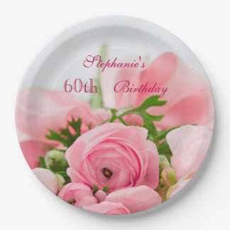 Bouquet Of Pink Roses 60th Birthday Paper Plate