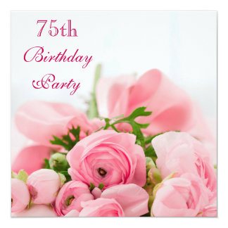 Bouquet Of Pink Roses 75th Birthday Card
