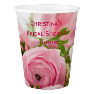 Bouquet Of Pink Roses Bridal Shower Paper Cup