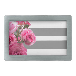 Bouquet of Pink Roses on Grey Stripes Belt Buckles